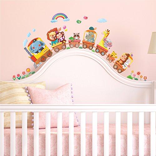 DECOWALL DS-8024 Trenes de Animales (Pequeña) Vinilo Pegatinas Decorativas Adhesiva Pared Dormitorio Saln Guardera Habitaci Infantiles Nios Bebs