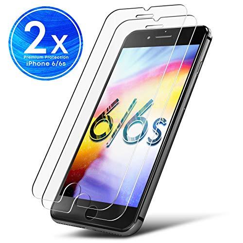 UTECTION 2X Schutzglas Folie für Apple iPhone 6 / 6s - Schutzfolie aus Glas gegen Bildschirmschäden - Passexakte Schutzglasfolie Anti Kratzer - Bildschirmschutzfolie Clear Durchsichtig