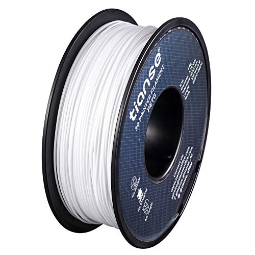 TIANSE PETG 3D Printer Filament White, 1.75mm 1KG Spool(2.2lbs) 3D Printer Consumables for Most FDM 3D Printers, Dimensional Accuracy +/- 0.03 mm (White)