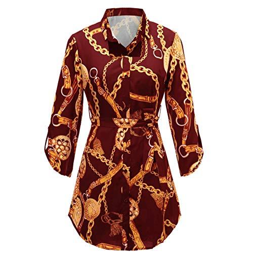 Camisas de Mujer a la Moda de Gran tamaño con Estampado en Color, Ropa de Calle, Suelta, cómoda, Tendencia Informal, Camisa de Longitud Media al Aire Libre XL