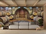Oedim Vinilo para Pared Bodegas Madera | Fotomural para Paredes | Mural | Vinilo Decorativo |500 x 300 cm | Decoración comedores, Salones, Habitaciones