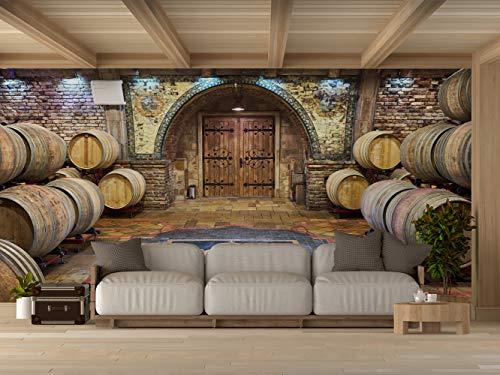 Oedim Vinilo para Pared Bodegas Madera | Fotomural para Paredes | Mural | Vinilo Decorativo | 200 x 150 cm | Decoración comedores, Salones, Habitaciones