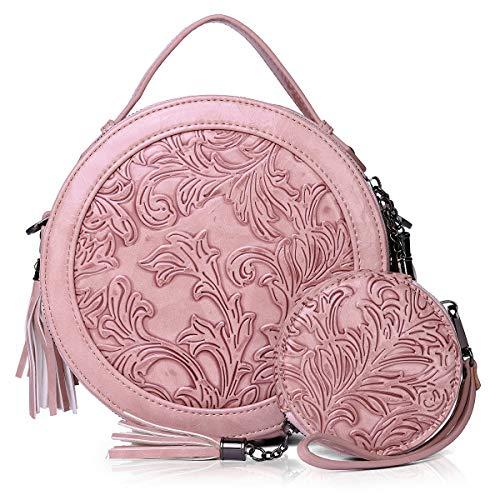 MEITRUE Bolso Bandolera Redondo Mujer Bolsos de Hombro Circular Cuero Piel PU Bolso de Mano Pequeños Asa Superior Mensajero Cruazado Crossbody Bag 9584