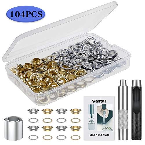 Vastar Trousse à œillets 100 Set Kit de Grommets Eyeletspour le cuir, la toile, la tente, l'auvent (1/2 Pouce)