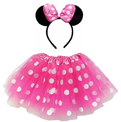 So Sydney Kids Teen Adult Plus 2-3 Pc Tutu Skirt, Ears, Tail Headband Costume Halloween Outfit (Adult Size), Minnie Hot Pink & White Polka Dot