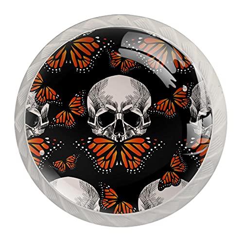 Juego de 4 pomos y asas para armario de cocina, diseño de calavera y mariposa naranja, 4 x 3,8 cm, tiradores para cajón, juego de pomos