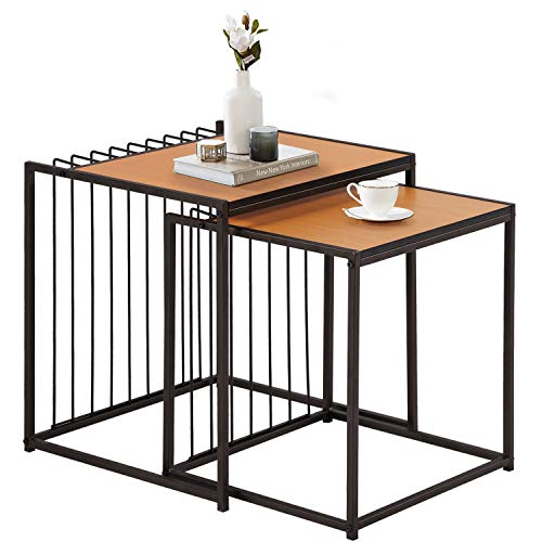 VECELO Industrial Nesting Coffee Table Set of 2,Stacking Side or End for Living Room Balcony Home...