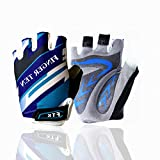 Cycling Gloves Kids Boys Girls Half Finger Fingerless Grip Value Pair, Road Mountain Bike Glove Durable Soft Comfortable Boy Girl For Outdoor Sport Color Pink Blue Green (Small, Blue)