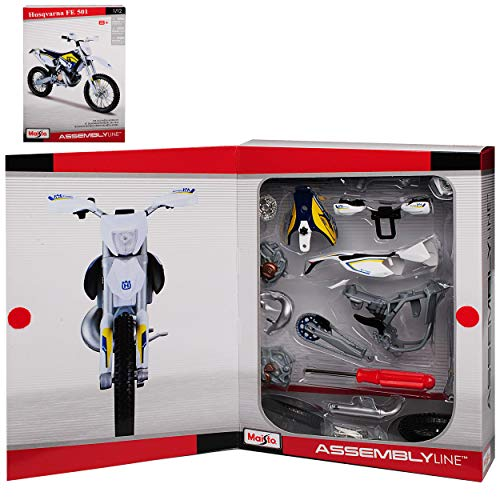 Husqvrana FE 501 Blau Weiss Enduro Bausatz Kit 1/12 Maisto Modell Motorrad mit individiuellem Wunschkennzeichen