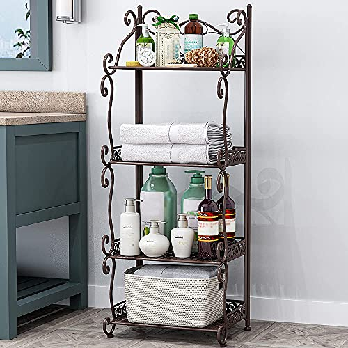 Estantería de pie con 4 estantes, estantería de metal para cocina, baño, escaleras para flores