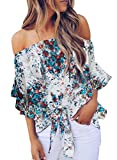 Asvivid Womens Cute Floral Printed Off The Shoulder Chiffon Blouses Short Bell Sleeve Flowy Tops Knotted Shirt L White