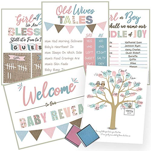Gender Reveal Baby Shower Supplies: 5 Game Posters, Decorations and Keepsakes All in One - Thumbprint Tree, Boy Girl Ink Kit, Old Wives Tales, Voting Scoreboard, Name Suggestion and Welcome Posters