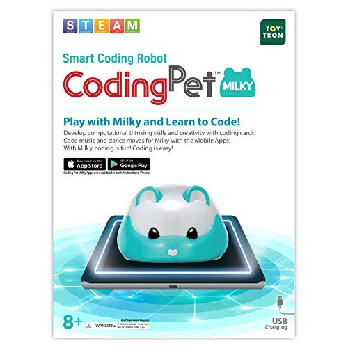 TOYTRON Coding Pet Milky, Free Programming App Linked Coding Robot for Kids, STEM Education Toy, Developing Critical Thinking and Problem Solving