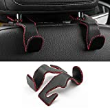 LivTee Red Superior Leather Car Back Seat Headrest Hooks
