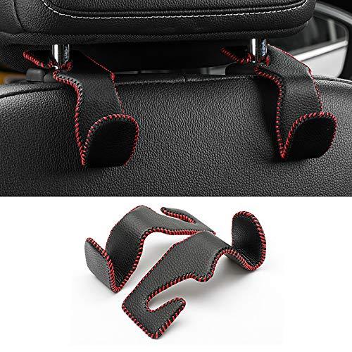LivTee Black & Red Superior Leather Car Back Seat Headrest Hooks