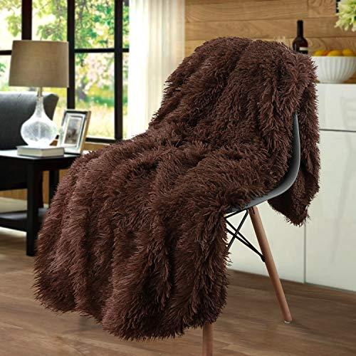 Junovo - Manta de pelo sintético súper suave, acogedora y mullida, de pelo largo, peluda, para el sofá y la cama, poliéster, marrón, Twin-60