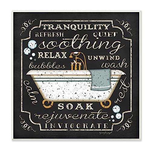 The Stupell Home Decor Collection Placa de parede de arte de banheiro com ícone de banheira de Tranquilidade, 30,5 x 0,5 x 30,5 cm, feita com orgulho nos EUA