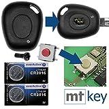 Repair reperatur de clé auto boitier de clé 1x boîtier + 1x à vis + 1x mikrotaster + 2x Batterie CR2016pour Renault
