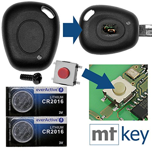 Juego de reparación para llave de coche con mando a distancia, 1 carcasa + 1 tornillo + 1 micropulsador + 2 pilas CR2016