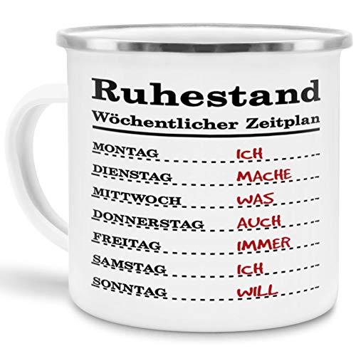 Tassendruck Emaille-Tasse für Rentner Wöchentlicher Zeitplan - Pension/Geschenk zum Ruhestand/Renteneintritt/Edelstahl-Becher/Metall-Tasse/Lustig