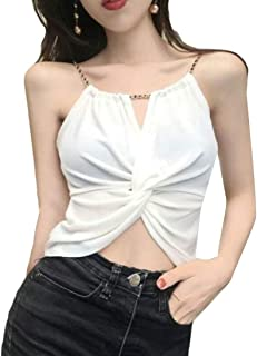 pujingge Womens Summer Halter Sleeveless Sexy Solid Tank Tops Camisole