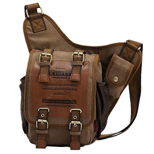 Kaukko Brand Men's Vintage Canvas Cross-body Bag 16 Oz Canvas Riding Cross...