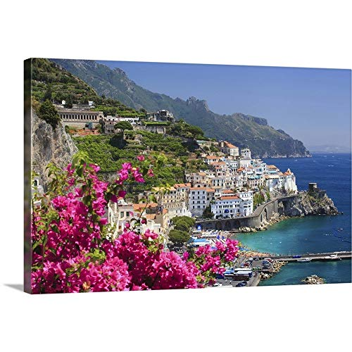 Italy, Campania, Amalfi Coast, Amalfi, Amalfi Overview from Grand Hotel Canvas Wall Art Print.