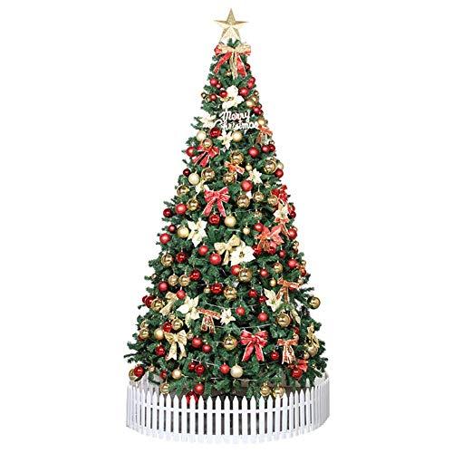 Tänd konstgjord julgran, LED-lampor och metallstativ med röda dekorationer Toppstjärna Fördekorerad julgran för semester Inomhusgrön (julgranpresenter)