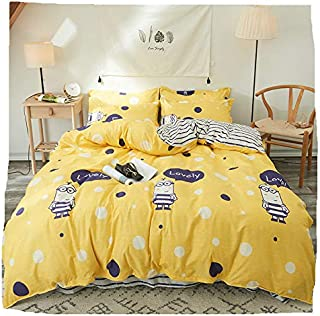 Bed Set Children Beddingset Duvet Cover No Comforter Top Flatsheet Pillowcase by Twin Full Queen Sheets Set Scarlet Memory Lovely Minions AB Designs for Kids (Lovely Minions, Yellow, Queen 78