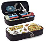Yaxinduobao Cremallera de cuero con estuche para lápices Pizza with Cheese Texture Leather Pencil Case with Zipper PU Leather Stationery Art Supplies College Office Pencil Holder