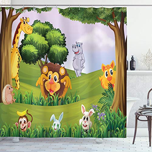 ABAKUHAUS Zoo Duschvorhang, Tiere im Wald Safari, mit 12 Ringe Set Wasserdicht Stielvoll Modern Farbfest & Schimmel Resistent, 175x240 cm, Mehrfarbig