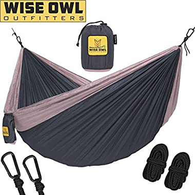 Wise Owl Outfitters Hammock for Camping Single & Double Hammocks - Top Rated Best Quality Gear For The Outdoors Backpacking Survival or Travel - Portable Lightweight Parachute Nylon DO Charcoal Rose