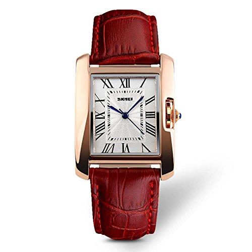 Damen analoge Quarzuhr, Armbanduhr mit römischen Ziffern, wasserdicht, mit Lederarmband, rot