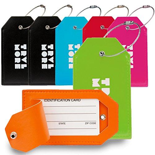 7er-Pack TravelMore Gepäckanhänger aus PU-Leder für Koffer mit Privatsphäre-Abdeckung – Reise-Kofferanhänger-Set für Taschen & Gepäck - Herren & Damen – Mehrfarbig