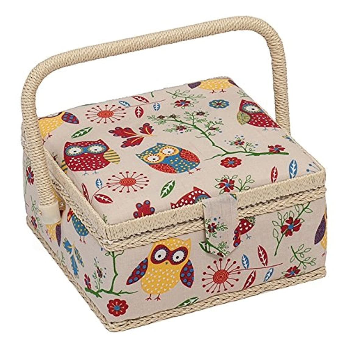Hobby Gift Owl Design Sewing Box on Natural Small (20 x 20 x 11cm)