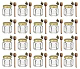 1.5 oz Hexagon Mini Glass Honey Jars with Wood Dipper, Gold Lid, Bee Charms, 20 pack
