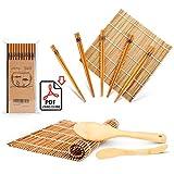 Set de 9 utensilios de bambú para hacer sushi, con 2 alfombrillas, 5 pares de palillos, espátula y esparcidor, guía para principiantes (PDF) (idioma español no garantizado)