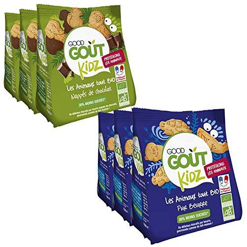 Good Goût Kidz - BIO - Lot de 6 sachets Biscuits Animaux 120g (3 sachets Pur Beurre + 3 sachets Nappés chocolat) dès 3 ans 120g - Pack de 6