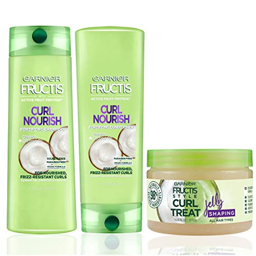 Garnier Hair Care Fructis Curl Nourish Shampoo, Conditioner, and Natural Styling Curl Treat Jelly, Nourish for Frizz Resistant Curls, Frizz Free Up to 24 Hours, Paraben Free, 1 Kit