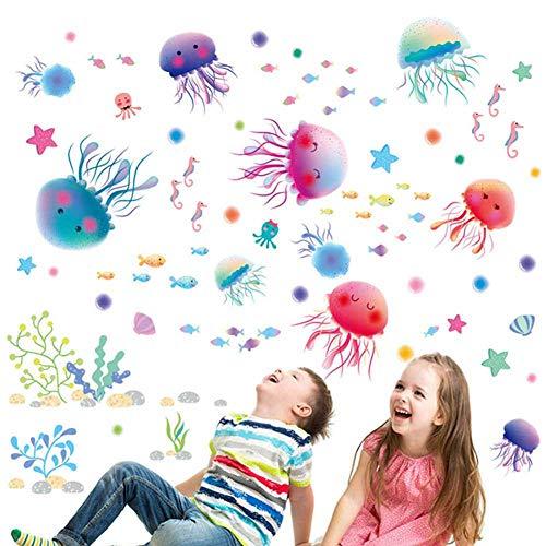 NoBrand Adesivi Murali Camera Bambini PVC Oceano Mare Carta Da Parati Simpatico Cartone Animato Bagno Soggiorno Decor 30 * 45Cm