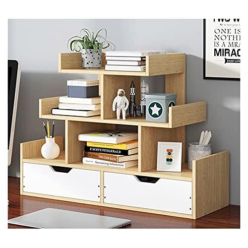 zlw-shop Estante para Libros Pantalla Abierta Librero Desk Top Organización Carrito/estacionario de Almacenamiento Dispositivo de estantería con 2 cajones Estantería (Color : Natural)