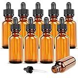Alledominium, 10 botellas de vidrio ámbar de 10 ml con pipetas cuentagotas vacías, recipiente de muestra rellenable para aceites esenciales, aceites de masaje, aromaterapia, perfume, líquido químico