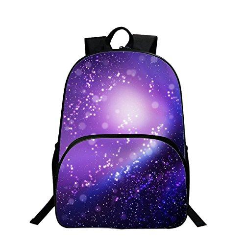 Sac à dos Sac de Loisirs Unisexe Univers Mode Sacs Bandoulière Galaxy 3D Peinture Textile Sacs à Dos Voyage a étudiant Bleu (Violet)