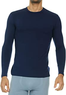 Mens Ultra Soft Thermal Shirt – Compression Baselayer Crew Neck Top – Fleece Lined Long Sleeve Underwear T Shirt