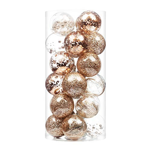 XmasExp 24ct Christmas Ball Ornaments Shatterproof Large Clear Plastic Hanging Ball Decorative with Stuffed Delicate Decorations (70mm/2.76' Champagne)