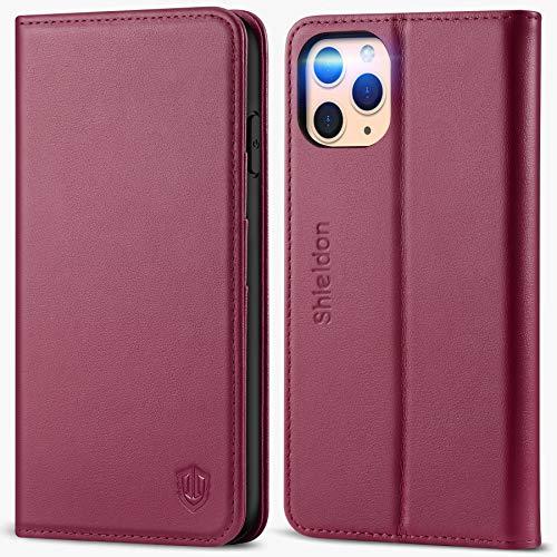 SHIELDON iPhone 11 Pro Max Hülle, Stoßfeste Handyhülle [Echtleder] [RFID Blocker] [Auto Sleep/Wake] [Standfunktion], TPU Magnetische Lederhülle Tasche Kompatibel für iPhone 11 Pro Max (6,5) Rotviolett