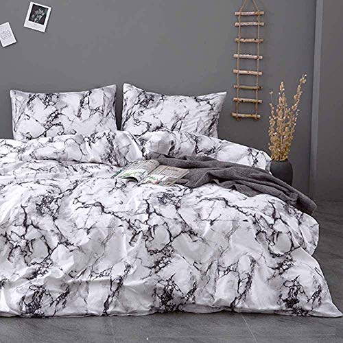 TanNicoor Marble Duvet Cover Set,Luxury Hypoallergenic Microfiber Bedding Set,Modern Style Gray White Marble Comforter Quilt Cover with Zipper Closure,Best Style for Men Women(3pcs, Queen Size)