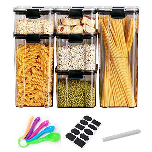 Diskary Airtight Food Storage Container Set, Kitchen and Pantry Organization Jars for Flour, Sugar, Cereal - BPA Free Plastic Canisters with Lids, Labels, Marker, Spoons (185oz/5.42L)