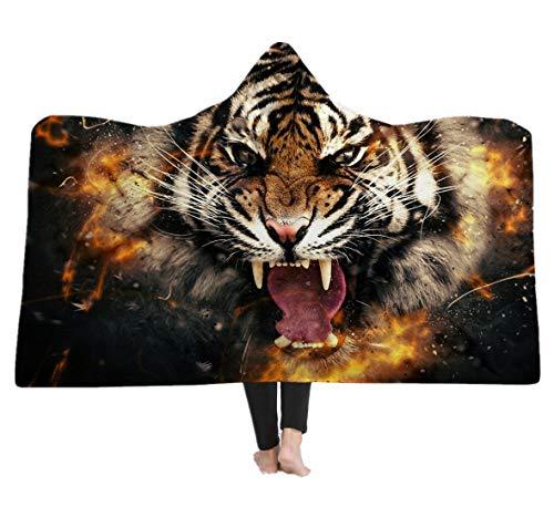 Kuscheldecke Wolf Tiger Löwe Weltkarte 3D Kapuzendecke Umhang Decke Tier Tagesdecke TV Decke Sofa Decke Für Geschenke (Style 5, 150 x 200 cm)