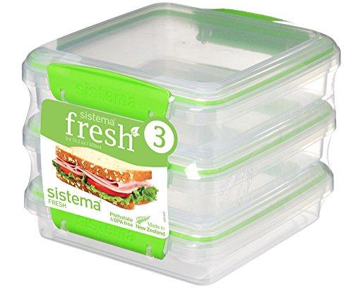 Sistema Sandwichbox Set 450 ml, Plastik, Transparent/grün, 15.5 x 15 x 12.4 cm